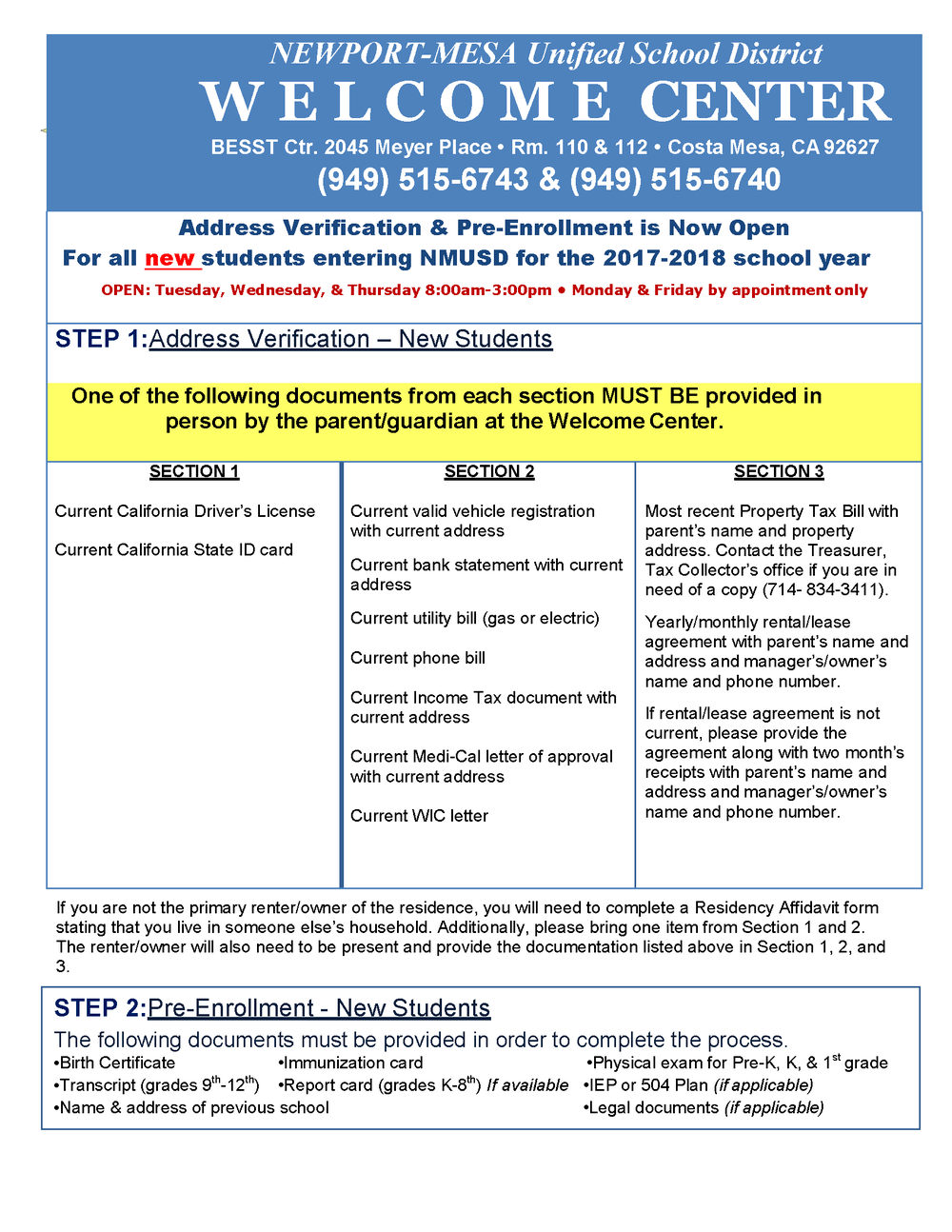 Pre-Enrollment Flyer in English