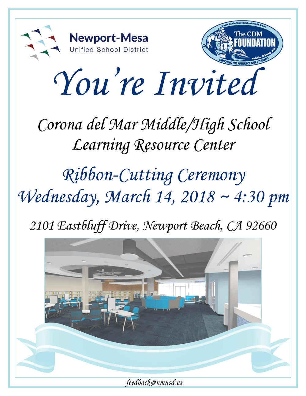 Corona del Mar Learning Resource Center Ribbon Cutting Invitation