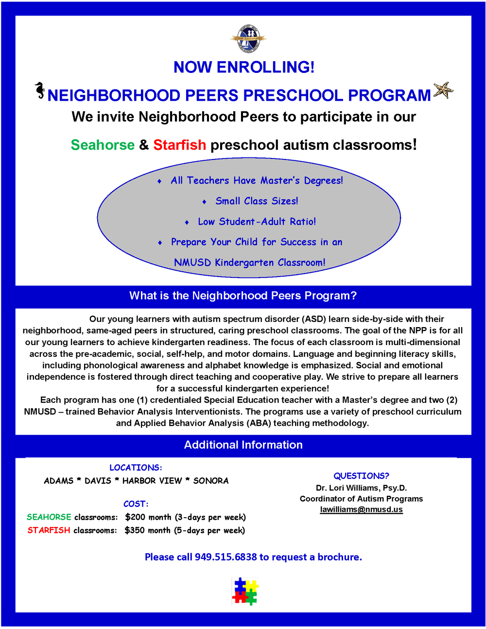 Neighborhood Peers Preschool Program Flyer