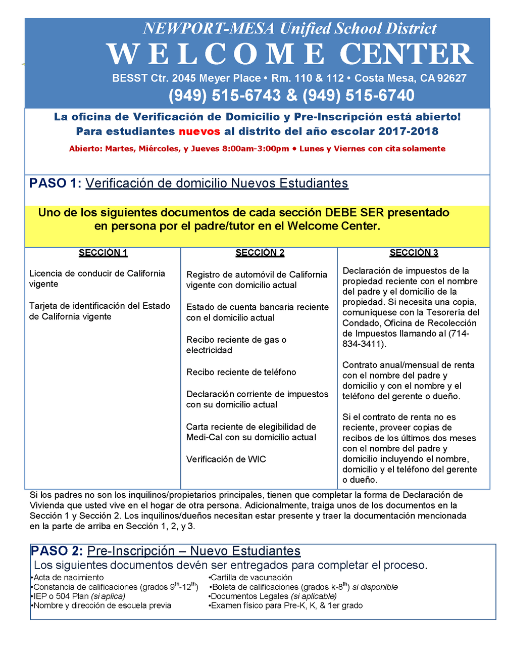 Pre-Enrollment Flyer in Spanish