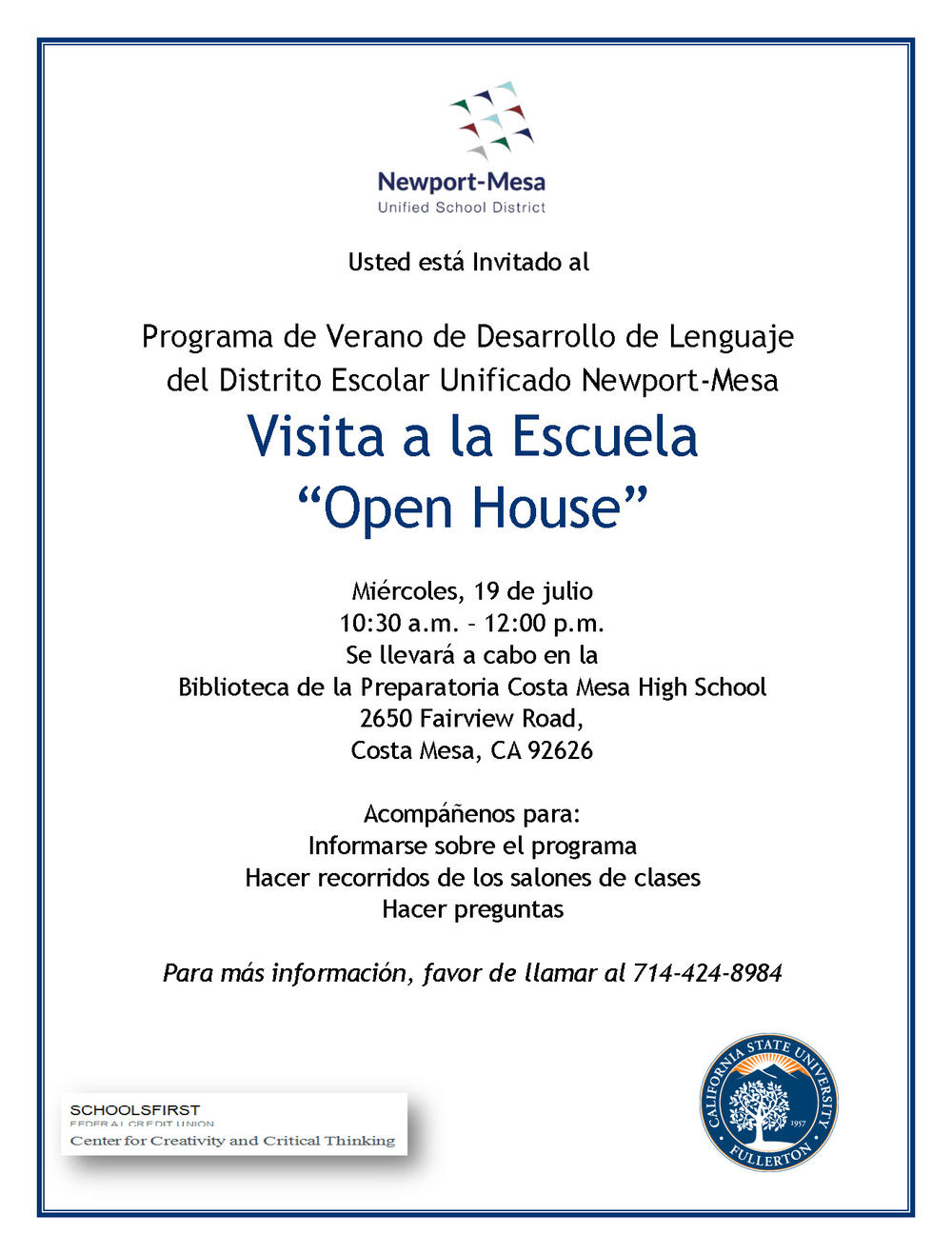 Summer Language Program Open House Flyer- Spanish